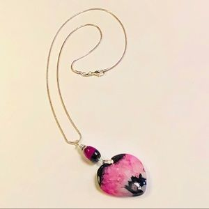 Black & Raspberry Pink Druzy Quartz Agate Necklace